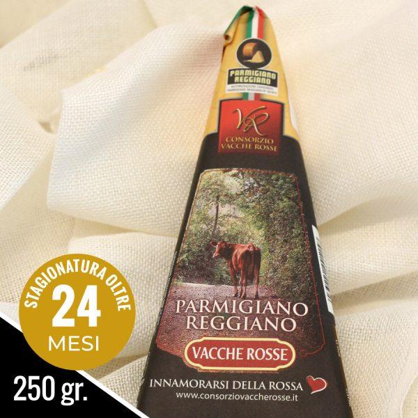 Parmigiano Reggiano Vacche Rosse stagionato 24 mesi nel formato da 250 grammi