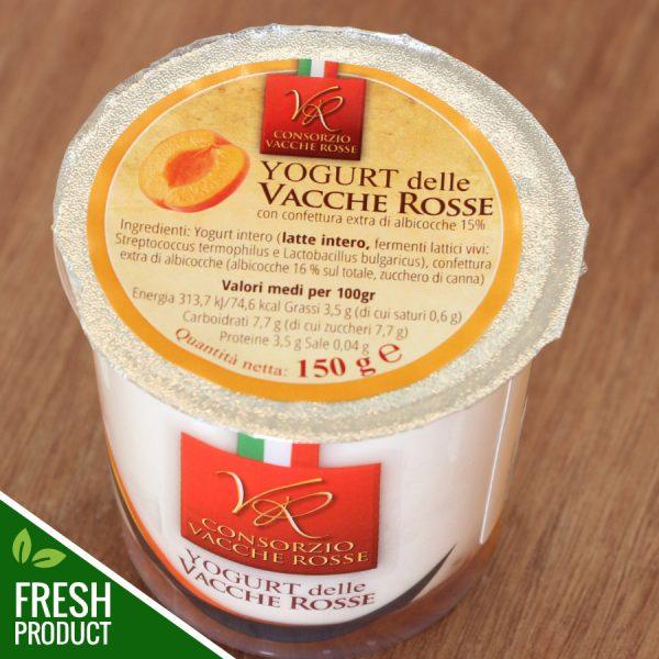 Vasetto di Yogurt Vacche Rosse con confettura di albicocche
