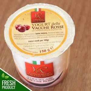 Vasetto di Yogurt Vacche Rosse con confettura di amarene