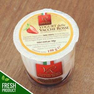 Vasetto di Yogurt Vacche Rosse con confettura di fragole
