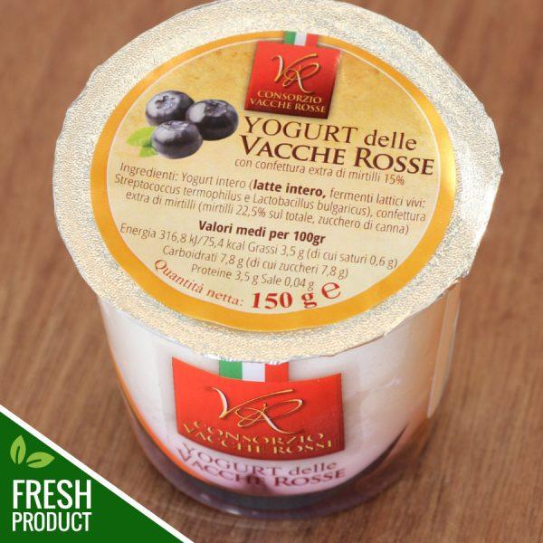 Vasetto di Yogurt Vacche Rosse con confettura di mirtilli
