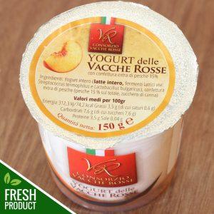 Vasetto di Yogurt Vacche Rosse con confettura di pesche